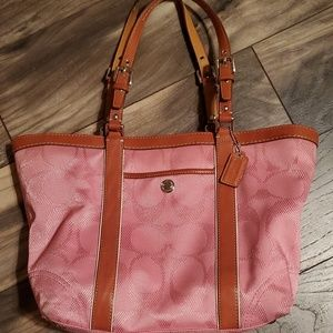 Pink Coach East West Gallery Tote